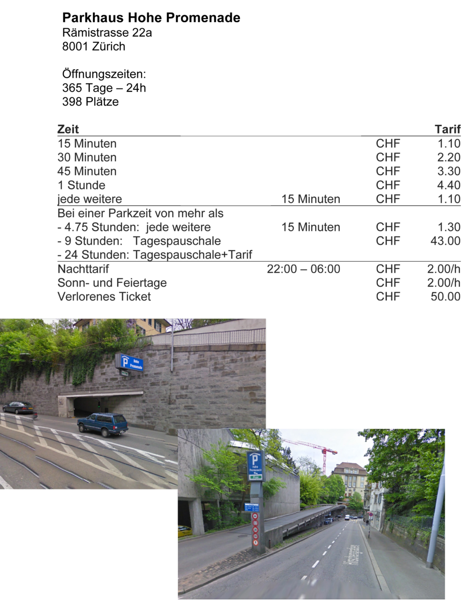 Parkmöglichkeiten Parkhaus Hohepromenade Moto Taiana
